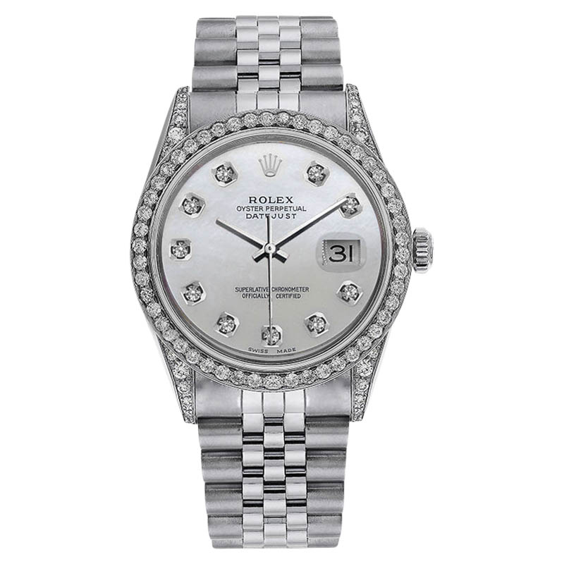 """Image of """"Rolex Datejust Stainless Steel White Mother Of Pearl Dial with Diamond"""""""