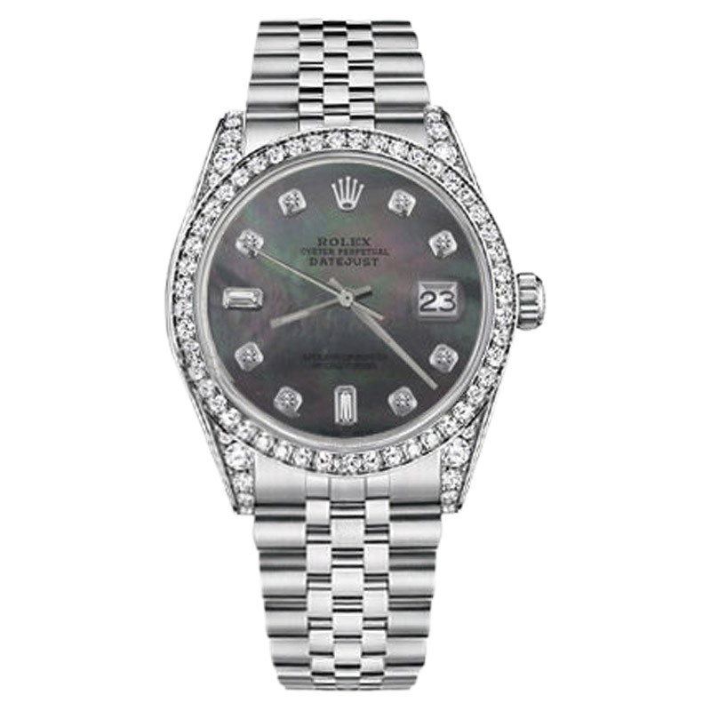 """Image of """"Rolex Datejust Stainless Steel Black Mother Of Pearl Diamonds 31mm"""""""