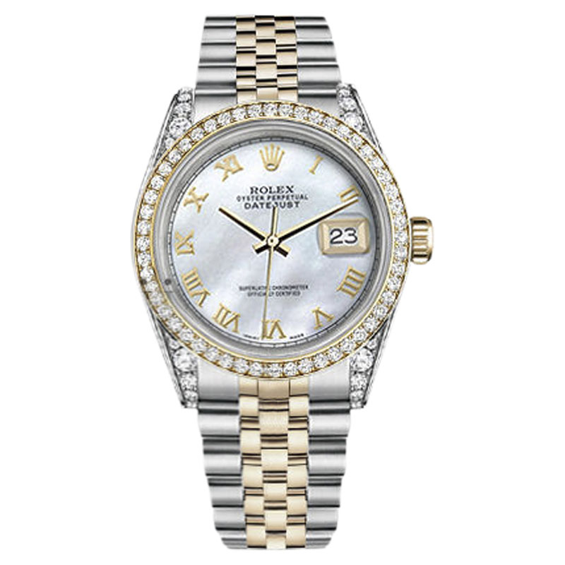 """Image of """"Rolex Datejust Stainless Steel/ 18K Gold White Mother Of Pearl Roman"""""""