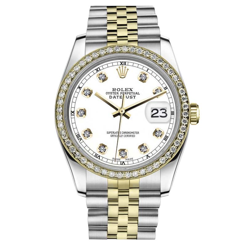 "Image of ""Rolex Datejust Stainless Steel/ 18K Gold White Color Daimond Face"""