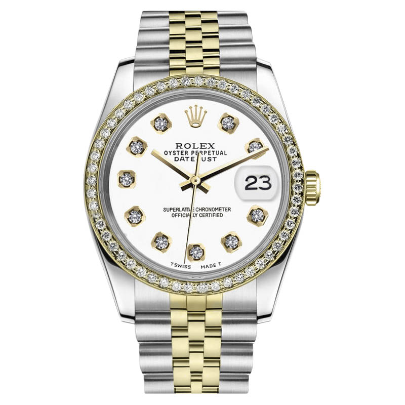 "Image of ""Rolex Datejust Stainless Steel/ 18K Gold White Color Dial With"""