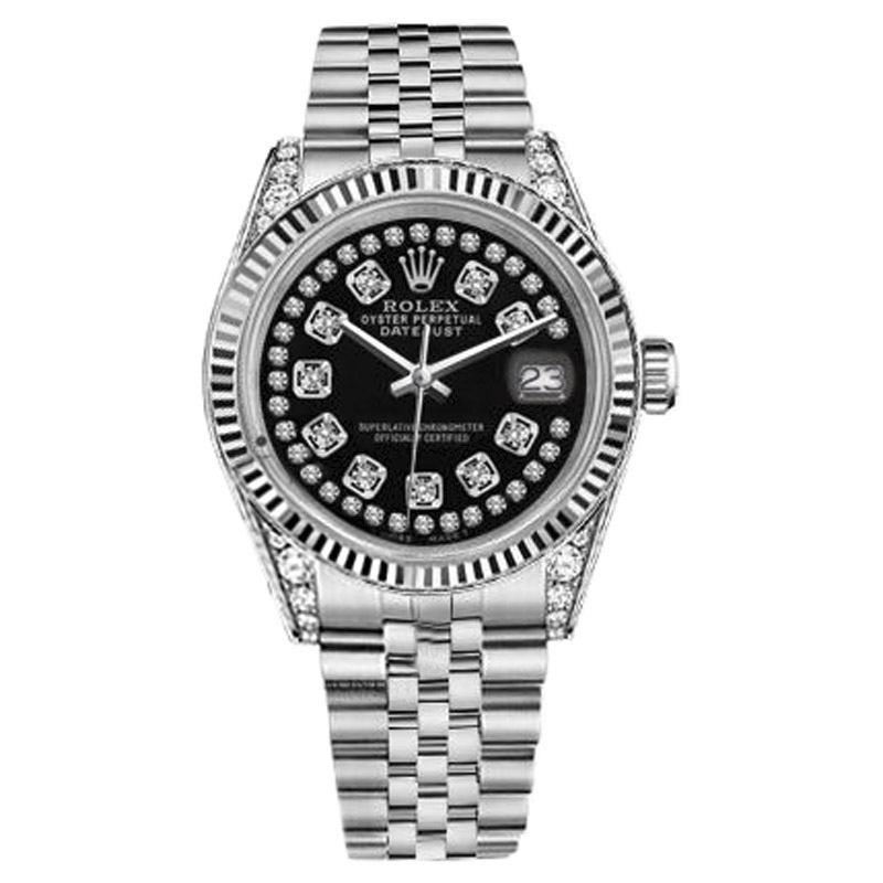 """Image of """"Rolex Datejust Stainless Steel Glossy Black String Diamond Dial 36mm"""""""