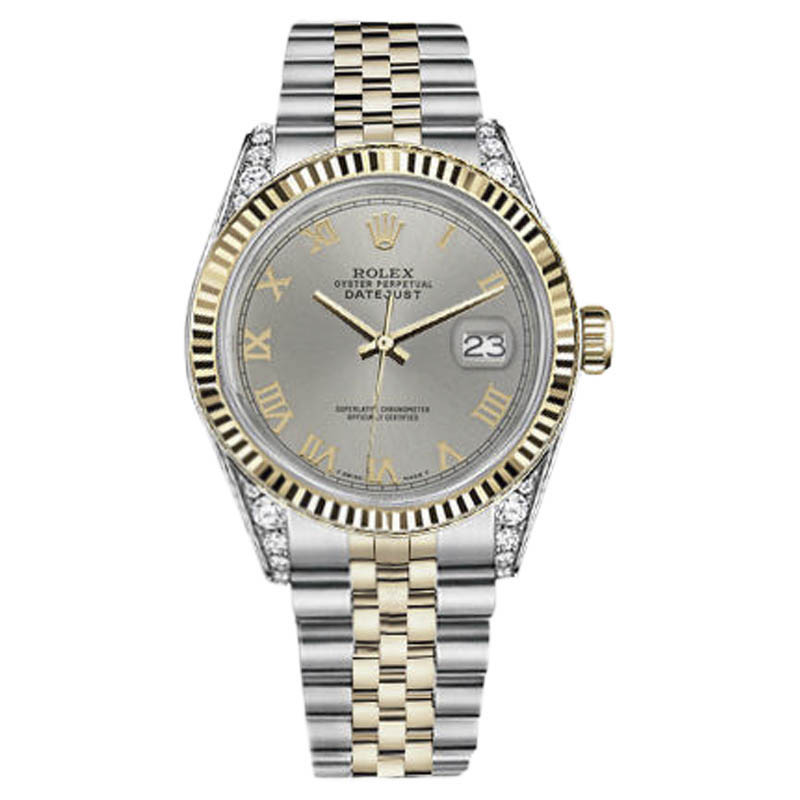 "Image of ""Rolex Datejust Stainless Steel & 18K Yellow Gold Slate Grey Roman"""