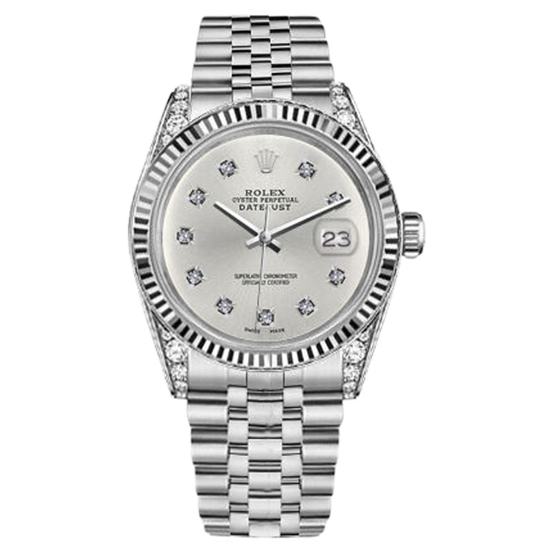 "Image of ""Rolex Datejust Stainless Steel Silver Color Dial With 10 Round Diamond"""