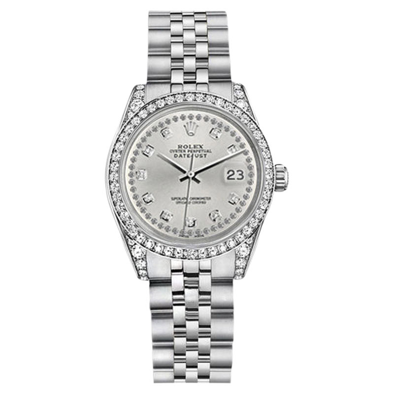 """Image of """"Rolex Datejust Stainless Steel Silver Diamond String Dial Jubilee"""""""