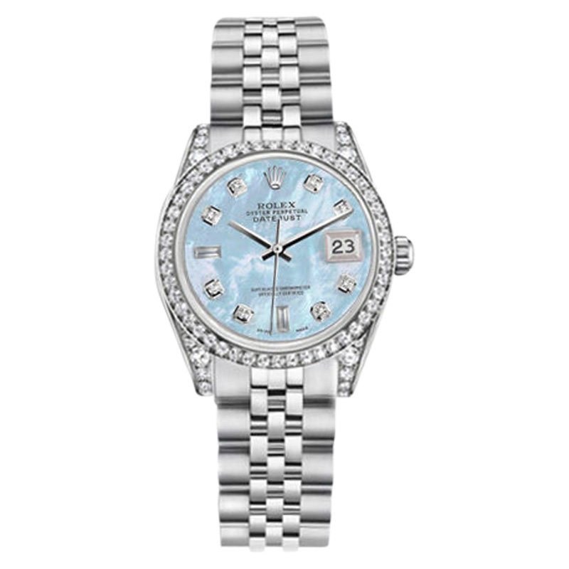 "Image of ""Rolex Datejust Steel Baby Blue Mother Of Pearl Diamond Dial 36mm"""