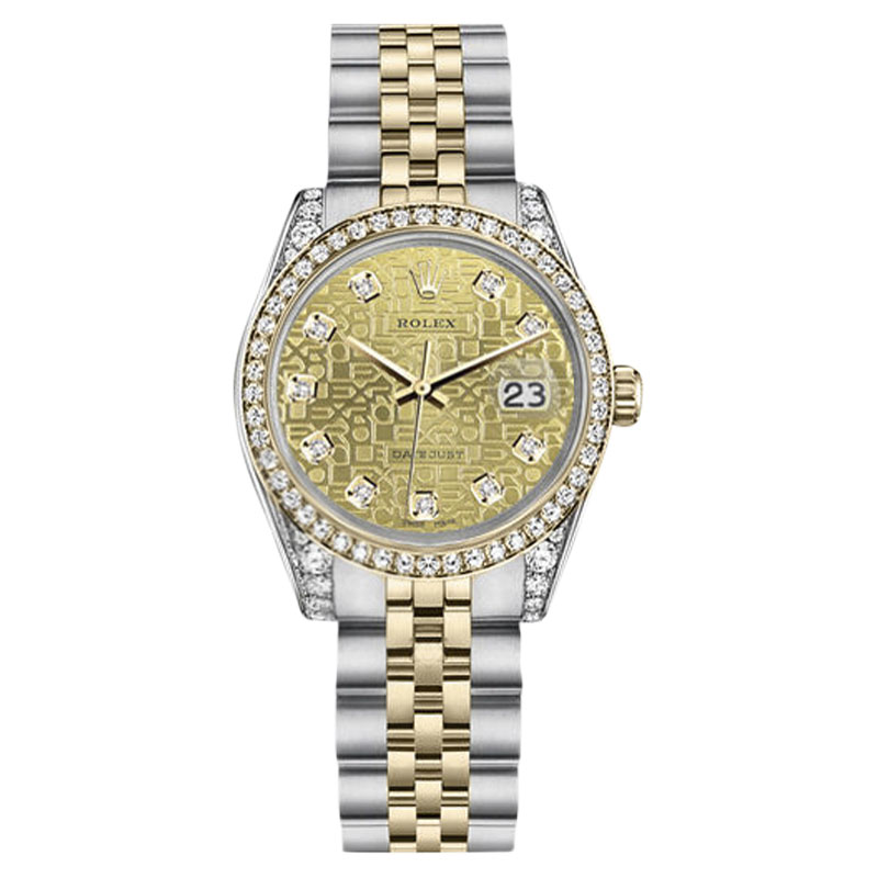 """Image of """"Rolex Datejust Stainless Steel + 18K Gold Champagne Logo Diamond 36mm"""""""