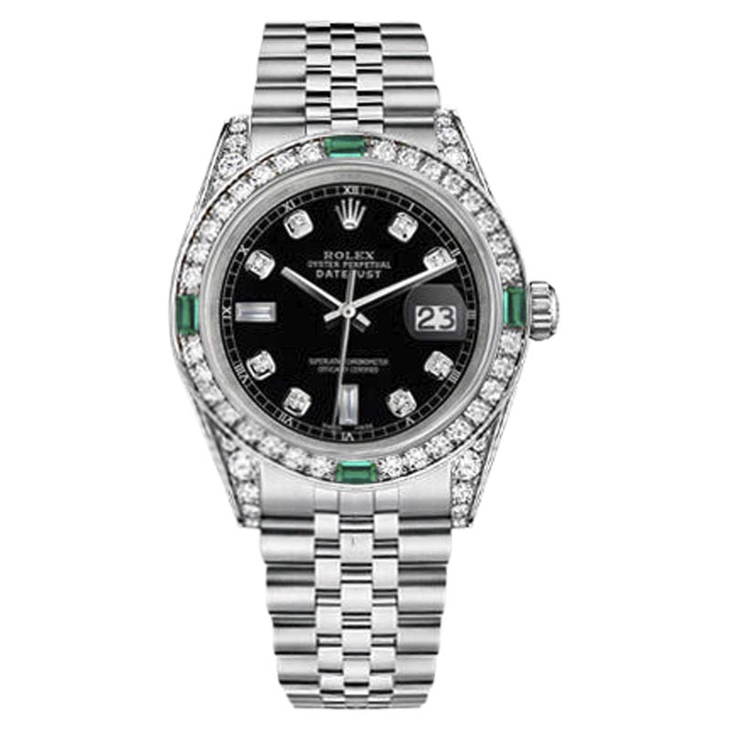 "Image of ""Rolex Datejust Stainless Steel Black Emerald Diamond Dial 36mm Womens"""