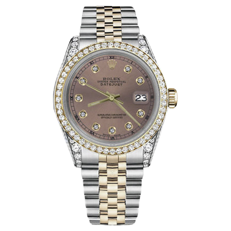"""Image of """"Rolex Datejust Stainless Steel/ 18K Gold Salmon Diamond 26mm Womens"""""""