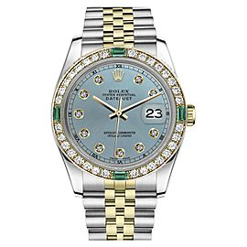Rolex Datejust Stainless Steel/ 18K Gold Ice Blue Color Dial Emerald Diamond Accent RT 31mm Womens Watch