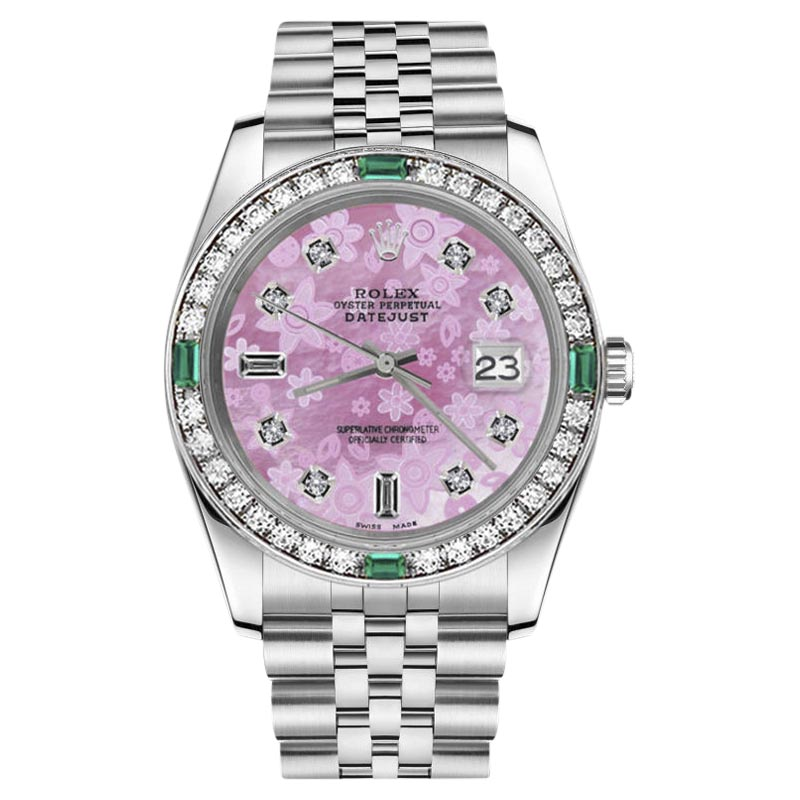 """Image of """"Rolex Datejust Stainless Steel With Pink Flower Mother of Pearl Dial"""""""