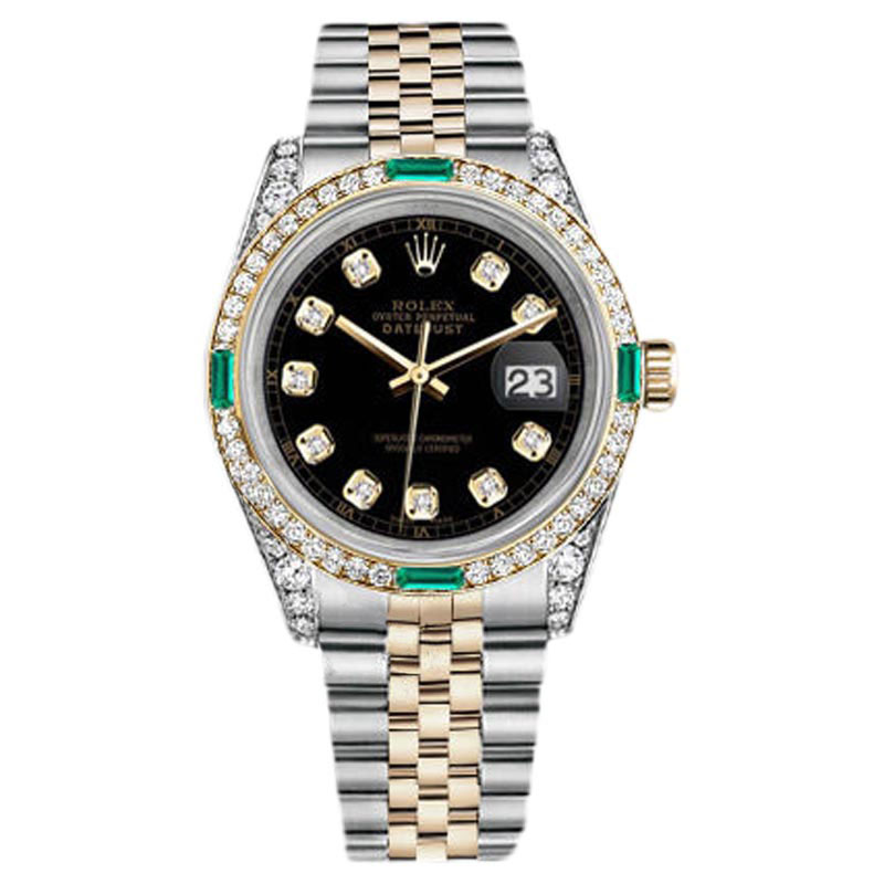 """Image of """"Rolex Datejust Stainless Steel and 18K Yellow Gold Diamond Black Dial"""""""