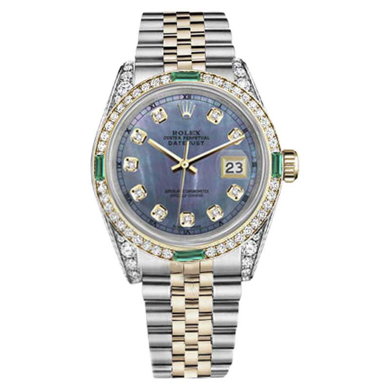 """Image of """"Rolex Datejust Stainless Steel & 18K Yellow Gold Tahitian Dial Emerald"""""""