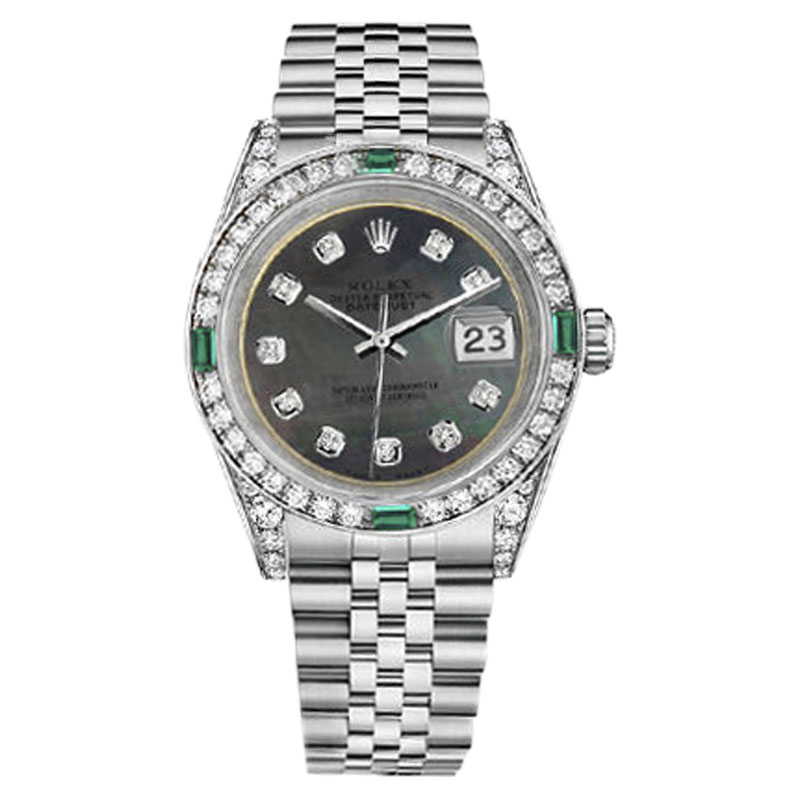 """Image of """"Rolex Datejust Steel Black Mother Of Pearl Color Emerald Diamond Dial"""""""