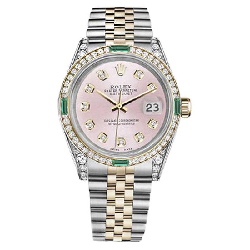 "Image of ""Rolex Datejust Steel & Gold Metallic Pink Diamond Emerald Dial 26mm"""