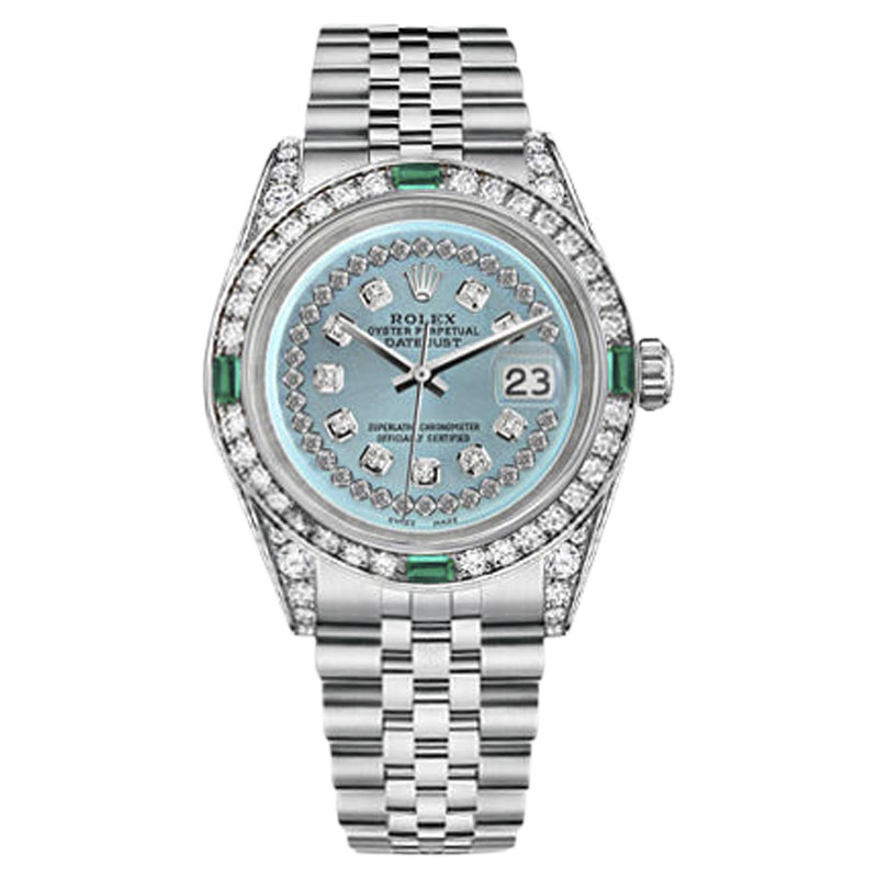 """Image of """"Rolex Datejust Stainless Steel Ice Blue String Emerald Diamond 26mm"""""""