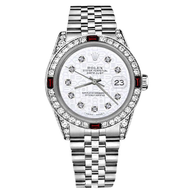 "Image of ""Rolex Datejust Stainless Steel White Diamond & Ruby Bezel Jubilee 36mm"""