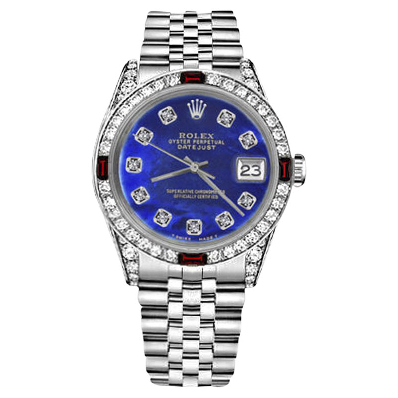 "Image of ""Rolex Datejust Stainless Steel Blue Color Treated Mother Of Pearl Dial"""