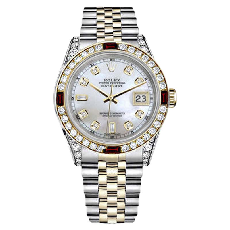 "Image of ""Rolex Datejust Stainless Steel/ 18K Gold White 8+2 Dial Ruby & Diamond"""