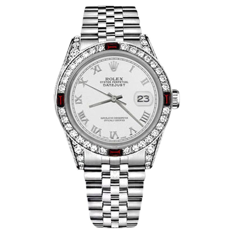"""Image of """"Rolex Datejust Stainless Steel White Roman Numeral Diamonds & Rubies"""""""