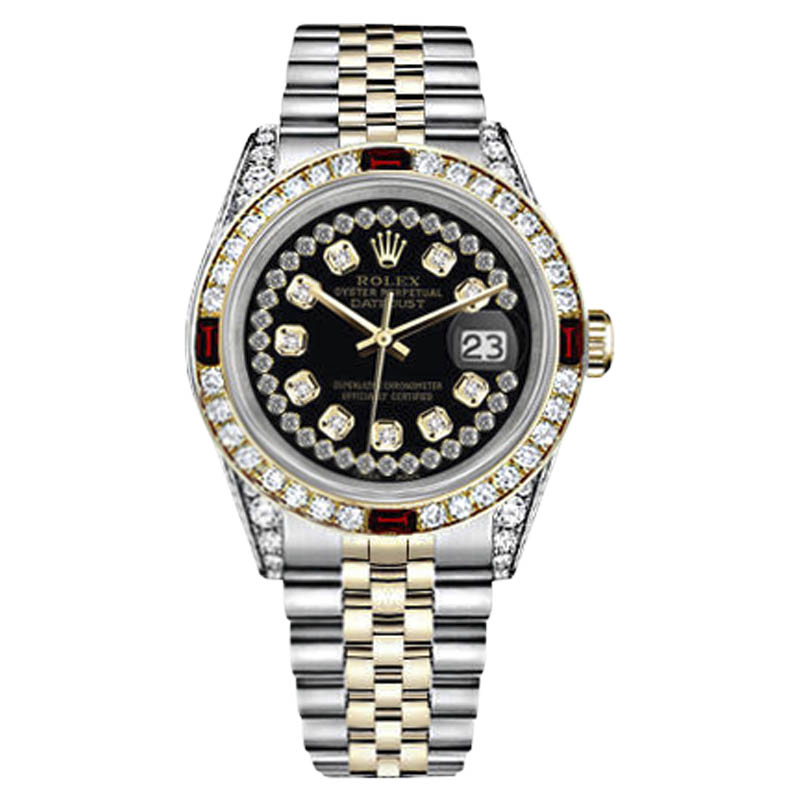 "Image of ""Rolex Datejust Stainless Steel/ 18K Gold Glossy Black String Dial Ruby"""