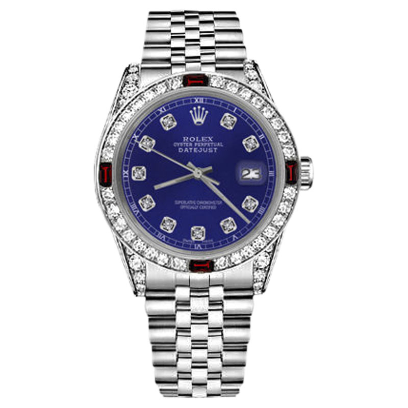 """Image of """"Rolex Datejust Stainless Steel Blue Dial With Ruby & Diamonds Bezel"""""""