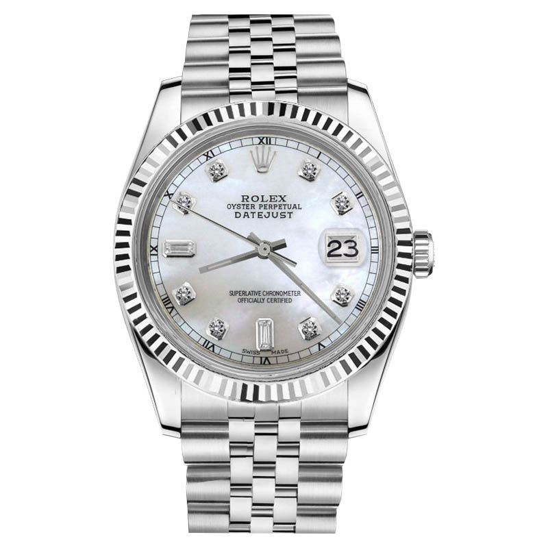 """Image of """"Rolex Datejust Stainless Steel White Natural MOP Mother Of Pearl 6+9"""""""