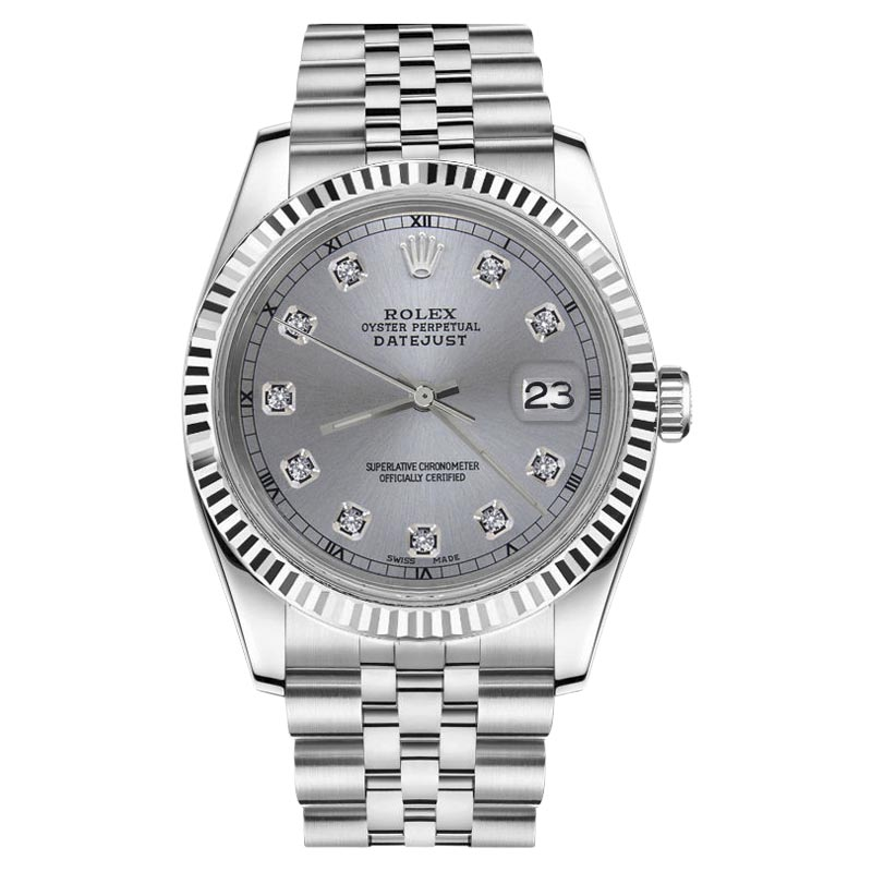 "Image of ""Rolex Datejust Stainless Steel & Gunmetal Grey Diamonds Dial 31mm"""