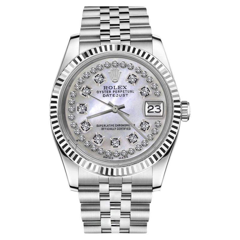 "Image of ""Rolex Datejust Stainless Steel White Mother Of Pearl String Round"""