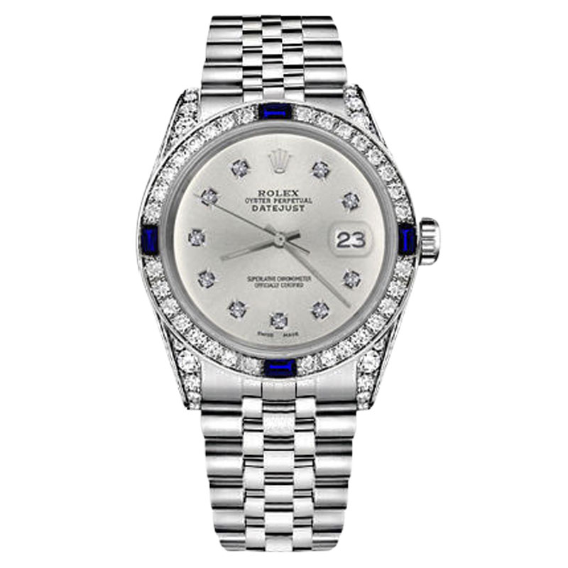 "Image of ""Rolex Datejust Stainless Steel Silver Dial With Sapphire & 10 Round"""