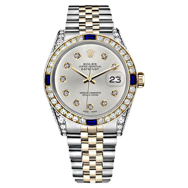 "Image of ""Rolex Datejust 2Tone Silver Dial with Sapphire & 10 Round Diamond"""