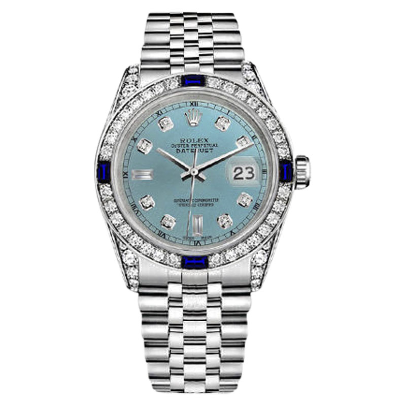 "Image of ""Rolex Datejust Stainless Steel Ice Blue Jubilee Bracelet Sapphire &"""
