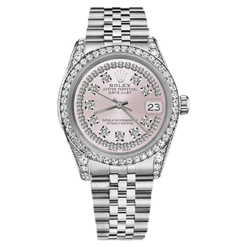 """Image of """"Rolex Datejust Stainless Steel Pink String Diamond Dial with Vintage"""""""