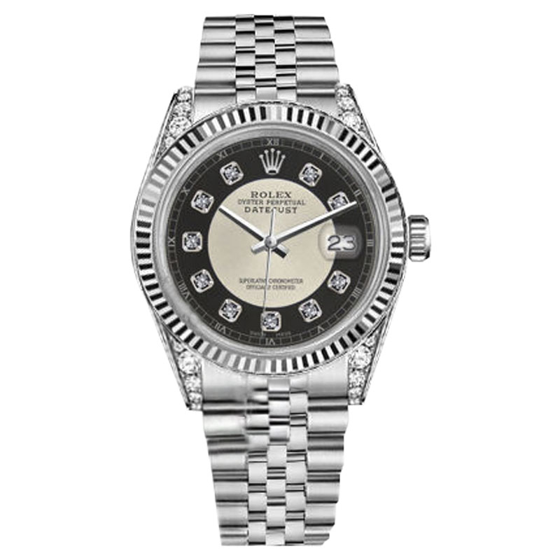 "Image of ""Rolex Datejust Stainless Steel Black Tuxedo Diamond 18K White Gold"""
