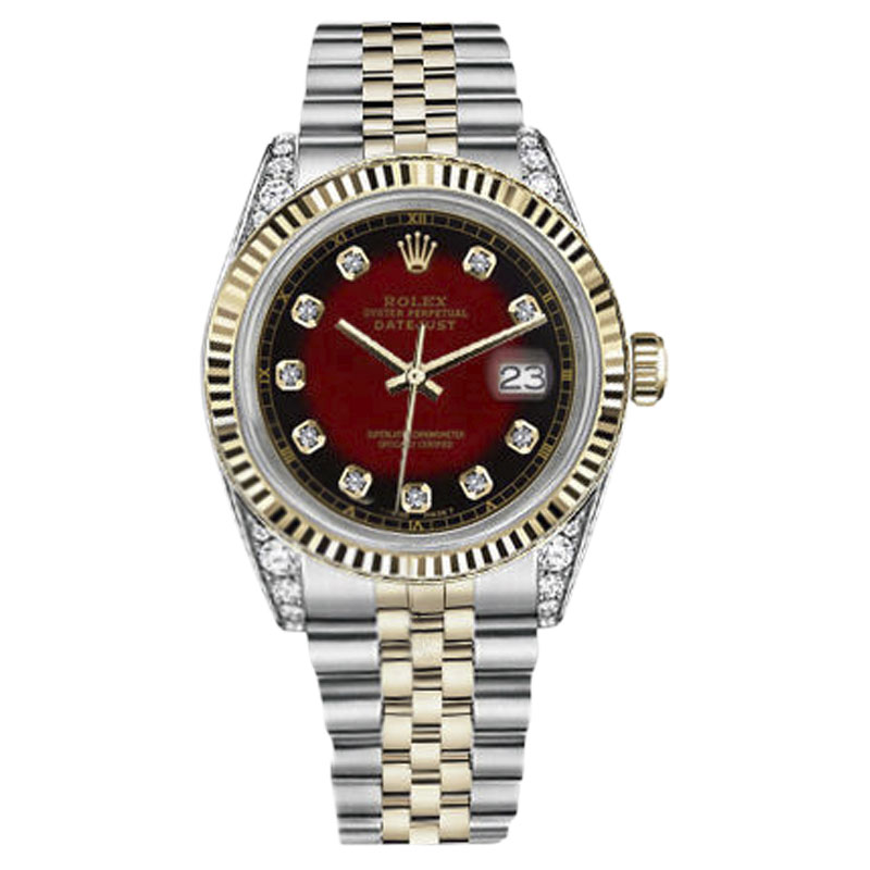 """Image of """"Rolex Datejust Stainless Steel/ 18K Gold Red Vignette Dial with"""""""