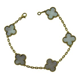 Van Cleef & Arpels 18K Yellow Gold Alhambra Mother of Pearl Motif Bracelet
