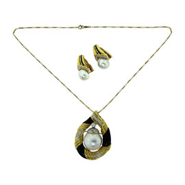 JS 18K Yellow Gold Pearl, Diamond & Onyx 2 Piece Set Necklace & Earrings