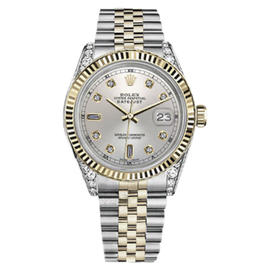 Rolex Datejust Stainless Steel & 18K Yellow Gold with Silver Dial 36mm Unisex Watch