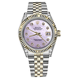 Rolex Datejust Stainless Steel/ 18K Gold Pink Mother Of Pearl wDiamonds 26mm Unisex Watch