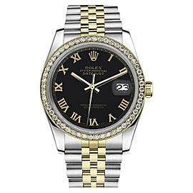 Rolex Datejust 18K Yellow Gold & Stainless Steel Black Roman Numeral Classic Jubilee 26mm Womens Watch