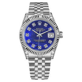 Rolex Datejust Stainless Steel Blue Color Treated Mother Of Pearl Diamond 26mm Womens Watch