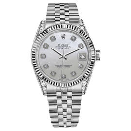Rolex Datejust White Mother Of Pearl Dial with Diamond Accent 26mm Womens Watch