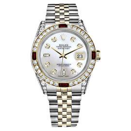 Rolex Datejust Stainless Steel/ 18K Gold White Dial Ruby & Diamond Bezel 26mm Womens Watch