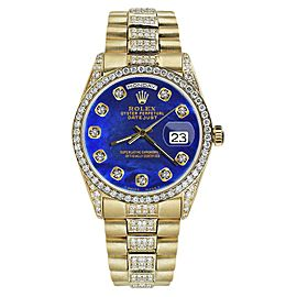 Rolex Day Date 18K Yellow Gold & Blue Diamond Dial 36mm Unisex Watch