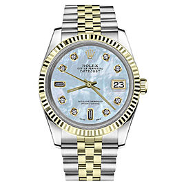 Rolex Datejust Stainless Steel & 18K Yellow Gold White Mother Of Pearl Dial 36mm Unisex Watch