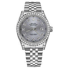 Rolex Datejust Grey Diamond Numbers lugs 18K Fluted Bezel Stainless Steel 26mm Unisex Watch