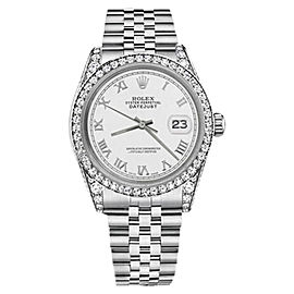 Rolex Datejust White Color Roman Numeral Dial with Diamonds 26mm Unisex Watch