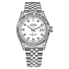 Rolex Datejust White Face Diamonds 18K White Gold & Stainless Steel Jubilee 26mm Unisex Watch