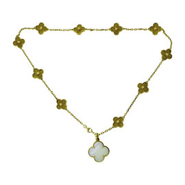 Van Cleef & Arpels 18K Yellow Gold Alhambra Mother of Pearl Pendant Necklace