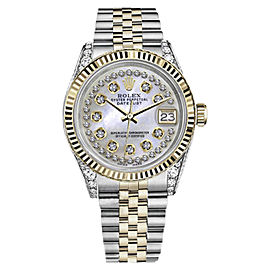 Rolex Datejust Stainless Steel/ 18K Gold White MOP Mother Of Pearl String wDiamond 26mm Womens Watch